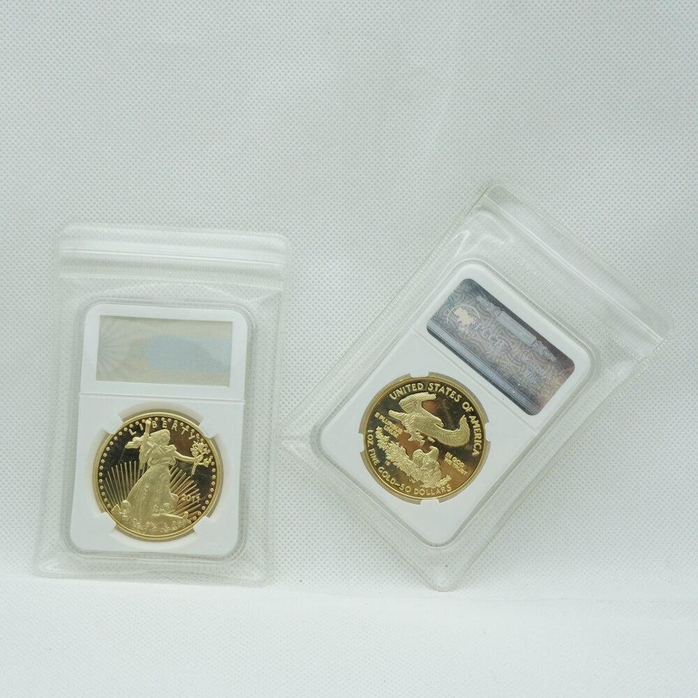 С копией немагнитного 1 унций позолоченный 2011 Американская свобода монета с изображением орла Сувенирный слиток с PCCB чехол