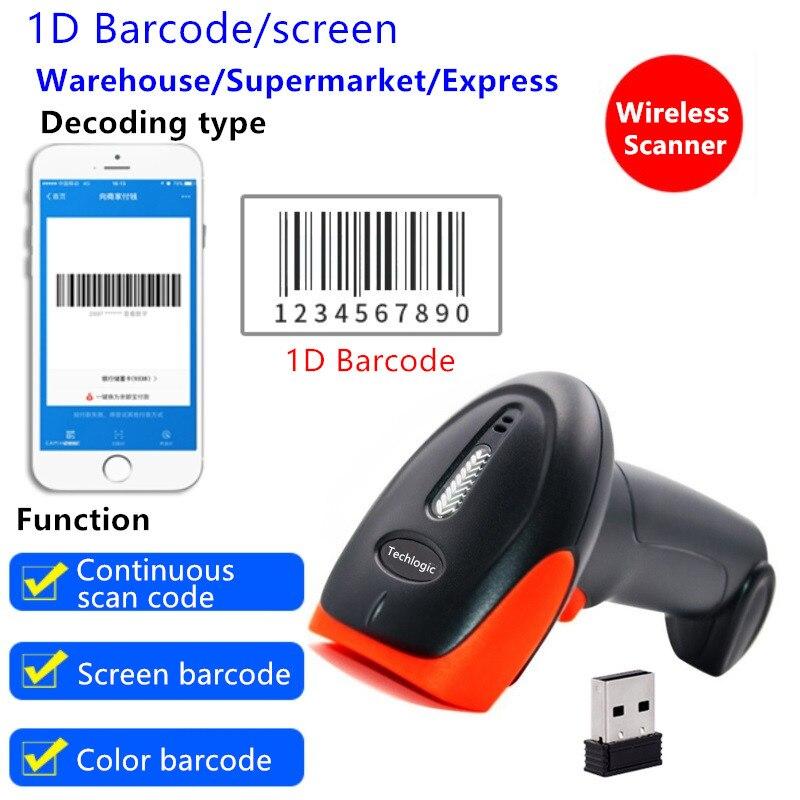 Techlogic Wireless Barcode Scanner Hohe Scaned Geschwindigkeit CCD Rot Licht Bar Code Reader Handheld Bar Pistole Für POS und Inventar