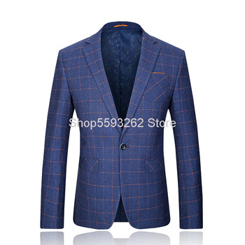 Autumn Men Business Leisure Small Suit Grid Youth Slim Fit Suit Male England