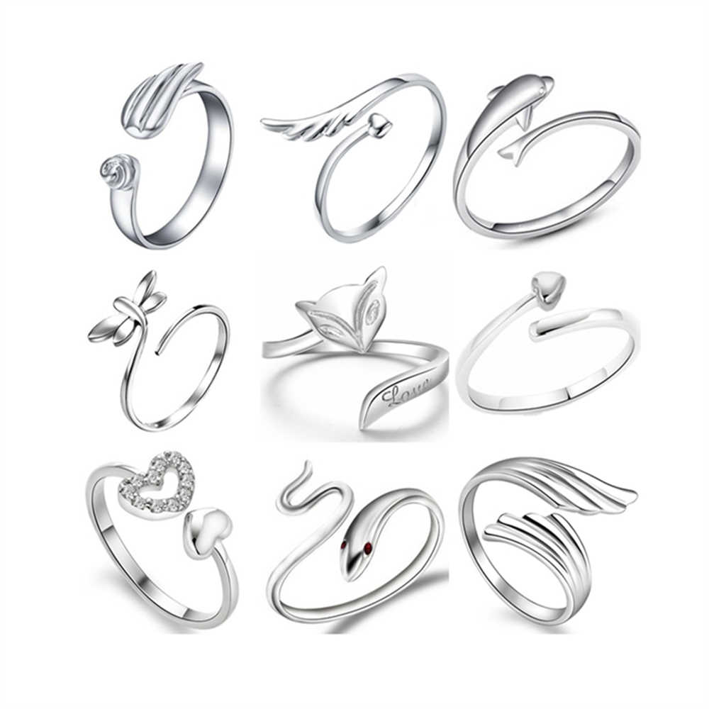 1pcs Wholesale lots bulk Silver Plated Copper Heart Love Mixed Animal Butterfly Snake Open Mouth Adjustable Finger Tail Rings