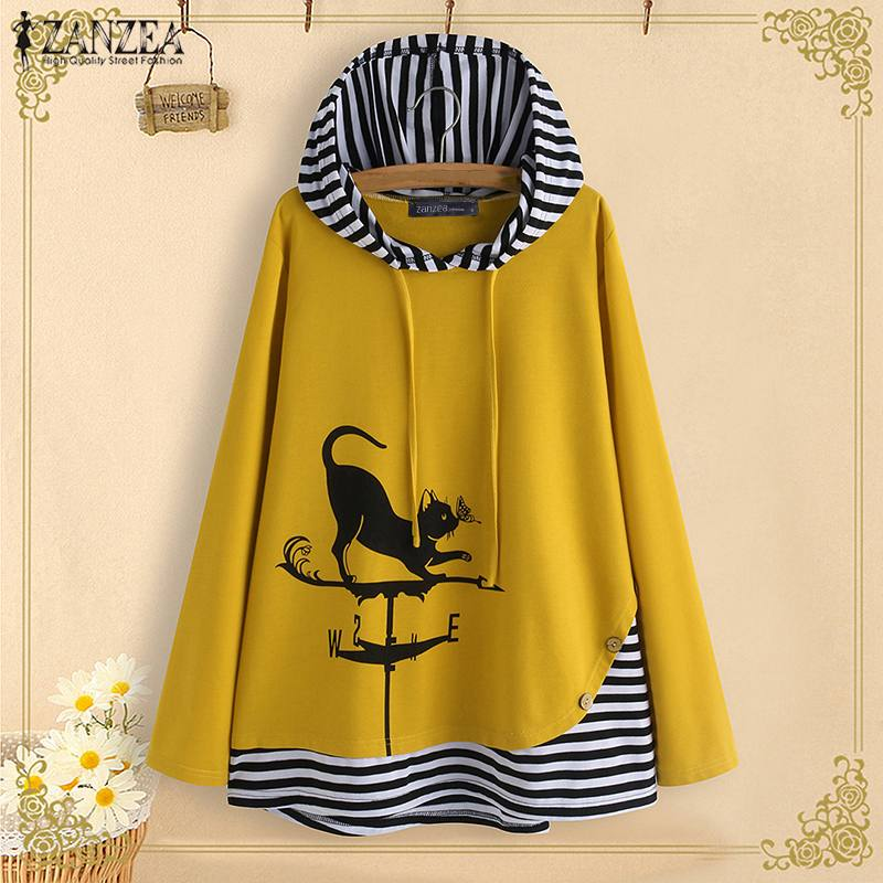 Women Cartoon Cat Hoodies Blouse ZANZEA Autumn Hooded Long Sleeve Tops Casual Patchwork Striped Shirts Loose Pullover Blusas 5XL