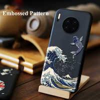 Para Huawei Companheiro 30 Pro 20 Pro Caso 20X 3D Relief Matte Tampa Traseira Macia para Huawei Mate30 LICOERS Oficial caso Fund