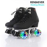 Skate Black Shoes double row roller skates 4 wheel skates for Women Adult Black Flashing LED wheels
