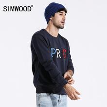 SIMWOOD 2019 otoño nuevo streetwear hoodies moda hip hop sudaderas sueltas hombres más tamaño bordado cuello redondo pulóver