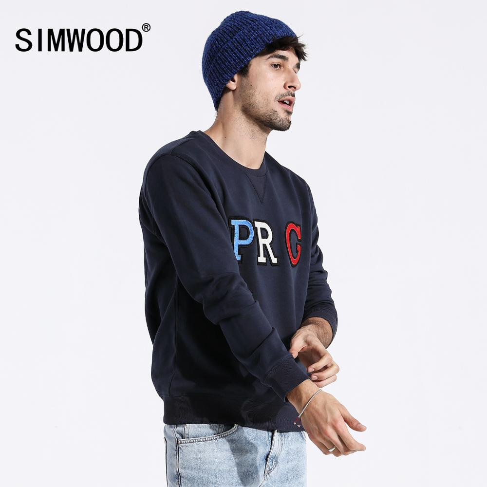 SIMWOOD 2020 Spring New Streetwear Hoodies Fashion Hip Hop Loose Sweatshirts Men Plus Size Embroidery O-neck Pullover 180318