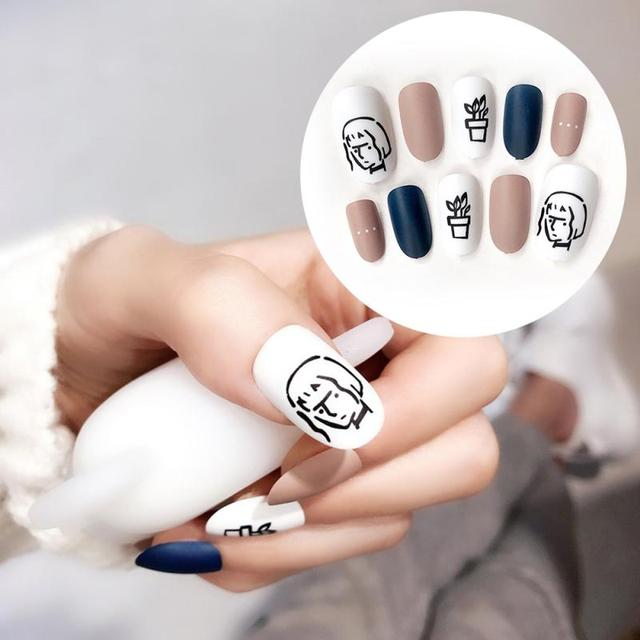24pcs Matte Acrylic Fake Nails Tips Girl Plants Pattern French False Nails Nail Art Extension Tips With Double-sided Sticker