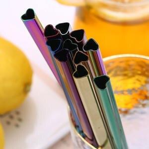 1 шт. Питьевая соломинка, многоразовый семейный набор, стеклянная соломинка в форме сердца, из нержавеющей стали 304, набор соломинок для моло...
