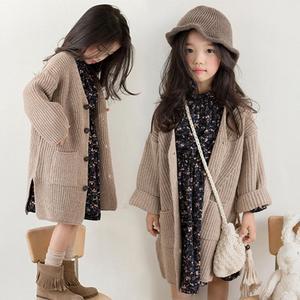 Autumn Spring Girls Sweater Kids Cotton Floral Dress Cardigan Coat 2Pcs Teens Clothes Princess Costume Winter Dress 8-16Years