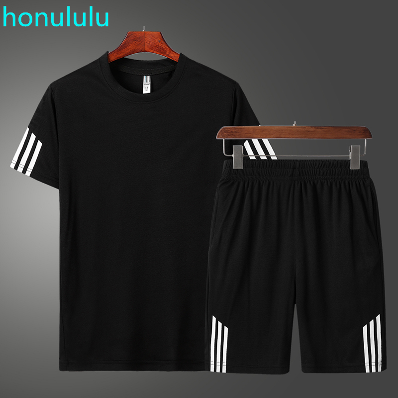 2020 New T-shirt Sports Suit Couple Quick Dry Casual Running Suit Summer Short Sleeve Shorts 2-piece Set