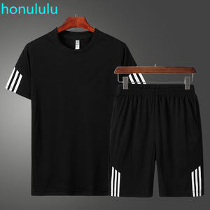 New T-Shirt Shorts 2-Piece-Set Running-Suit Couple Quick-Dry Casual Summer