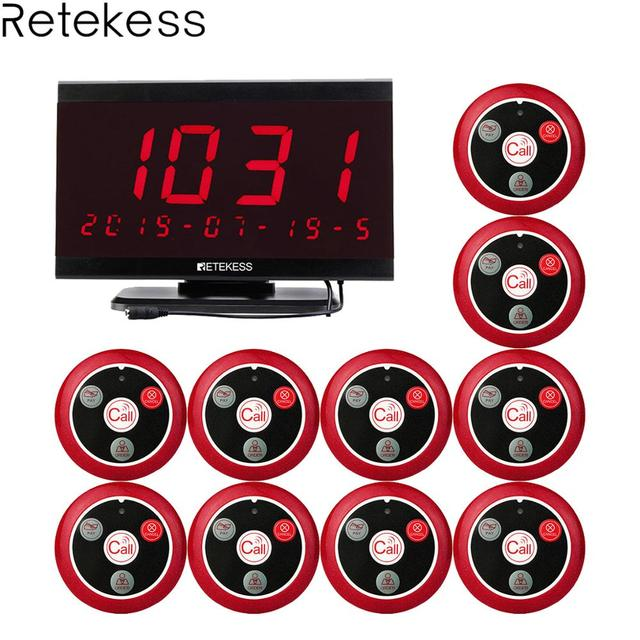 Retekess TD105 999CH Host Receiver + 10pcs T117 Call Button Restaurant Pager Waiter Calling System Customer Service Nurse Call