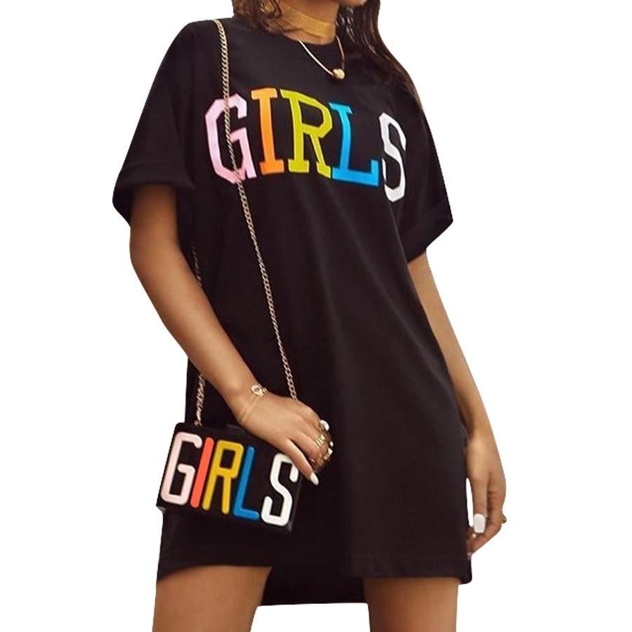 Women Straight Dress Rainbow Letters Printed Summer Short Sleeve Graphic Dresses O-neck Korean Harajuku Street T Shirt Dress