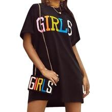 Women Straight Dress Rainbow Letters Printed Summer Short Sleeve Graphic O Neck Korean Harajuku Street T Shirt Vestidos SP219