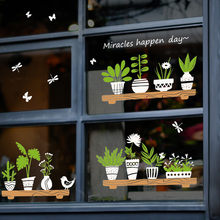 Plant Potted Shop Glass Door Cafe Decoration Wall Stickers DIY Waterproof Wallpapers Homen Cafe Decor(China)