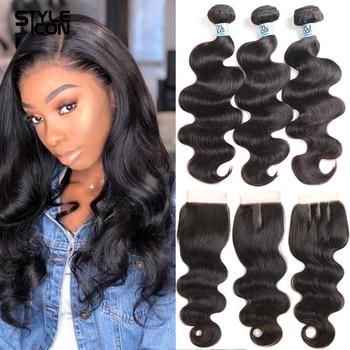 Волнистые человеческие волосы, пряди с закрытием, двойные волосы Remy, бразильские волосы, 3 пряди, с закрытием, 8-30 дюймов, волнистые