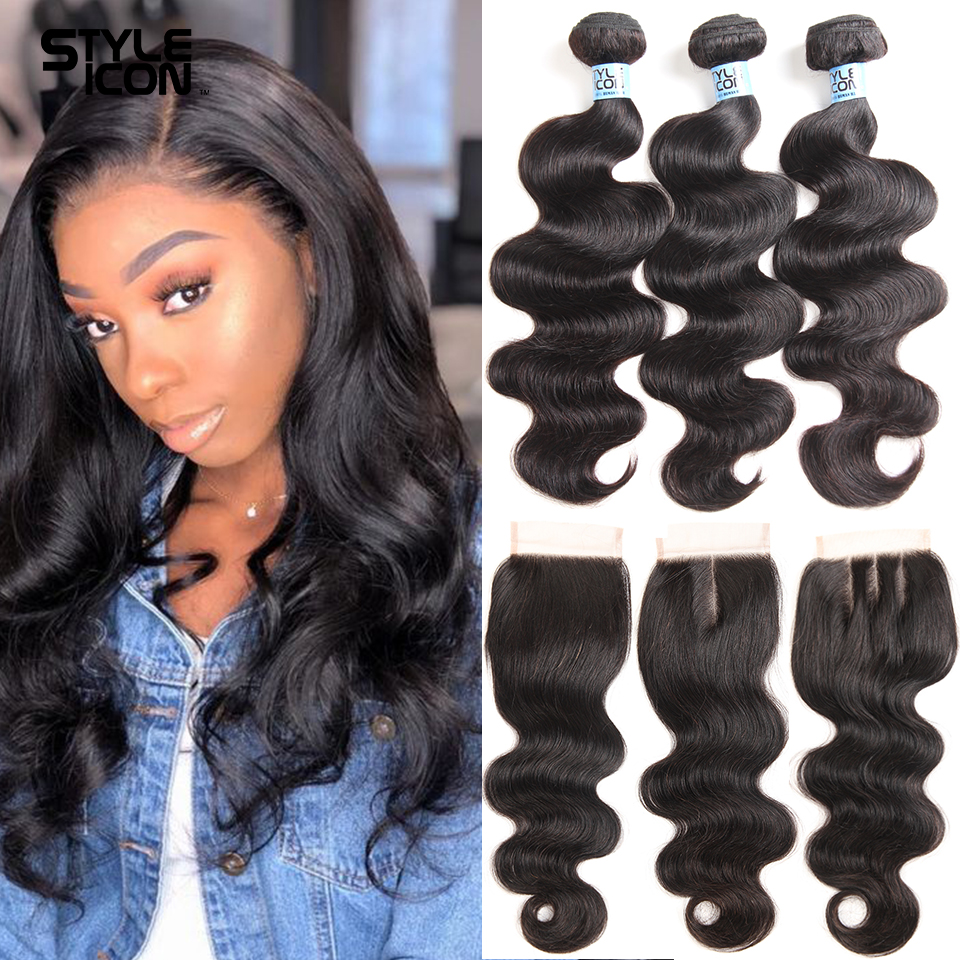 Body Wave Human Hair Bundles With Closure Lace Closure Remy Brazilian Hair Body Wave 3/4 Bundles With Closure 30Inches Extension