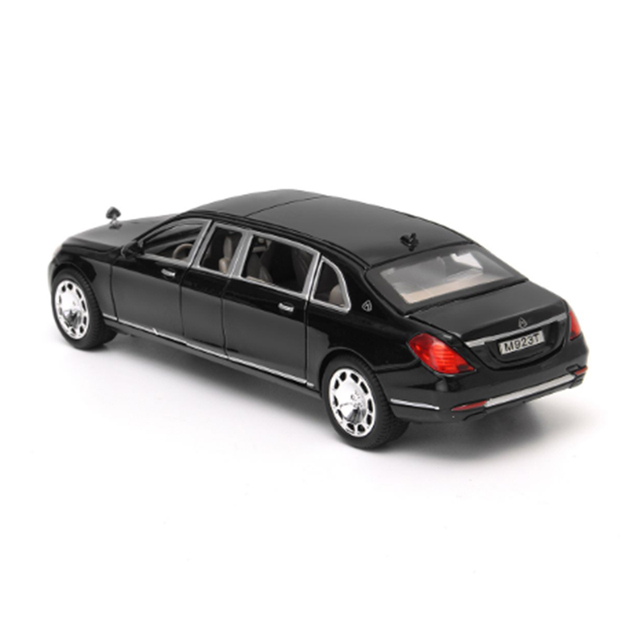 KIDAMI 1:24 Maybach Alloy Car Model Limousine Diecast Metal Car Toys For Children Sound and Light Pull Back Toy Car Gifts