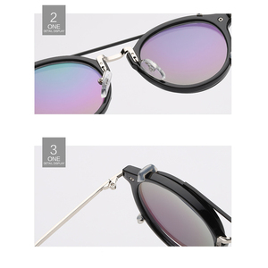 Image 4 - Fashion Round Glasses Clear Frame Women Spectacle Myopia Men EyeGlasses Optical Frames With Vintage Clip On Polarized Sunglasses