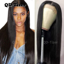 QD TIZER ארוך שחור סינטטי תחרה מול פאה משיי Striaght Glueless חום סיבים עמידים תחרה מול פאות שיער טבעי