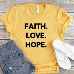 Faith Love Hope Plus Size Women T-shirt Christian Jesus Shirt Fashsion Letter Cotton Female Clothing O Neck Short Sleeve Top Tee