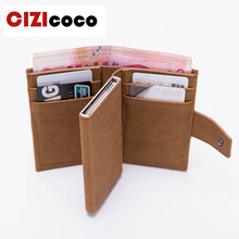 New Credit Card Holder Arrival RFID Blocking Card Holder PU Leather Unisex Business ID Holders Aluminum Box Card Wallets bycobecy arrival pu leather credit card holders aluminum women and men 2019 new vintage id wallets high quality card holder rfid