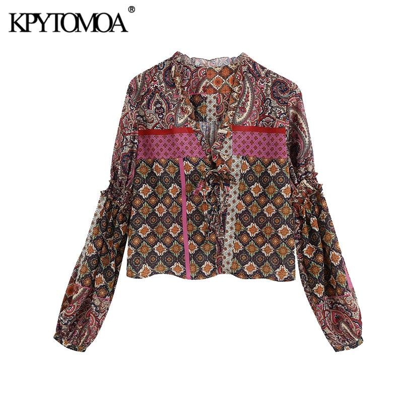 KPYTOMOA Women 2020 Fashion Paisley Print Ruffles Blouses Vintage Tied V Neck Long Sleeve Female Shirts Blusas Chic Tops