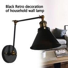 Домашний настенный светильник, бра, черный Ретро декоративный светильник для гостиной, офиса, ночной промышленный длинный рукав, для бара, кафе, регулируемые качели, для ресторана