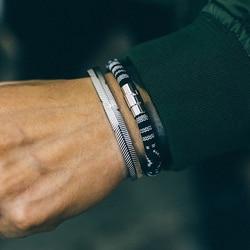 cuff bracelets Open Bangles Charm Stripe Arm Cuff bangle Bracelets Men Stainless steel Brand Punk Bracelet Retro Men jewelry
