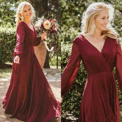 Vintage A-Line Long Sleeve Chiffon Pleated Burgundy Bridesmaid Dresses with Pockets Custom Zipper Formal Wedding Party Dresses