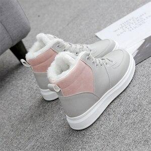 Image 3 - JIANBUDAN femmes décontracté hiver imperméable coton chaussures en peluche chaud plat bottes de neige mode fille blanc hiver coton bottes 35 40
