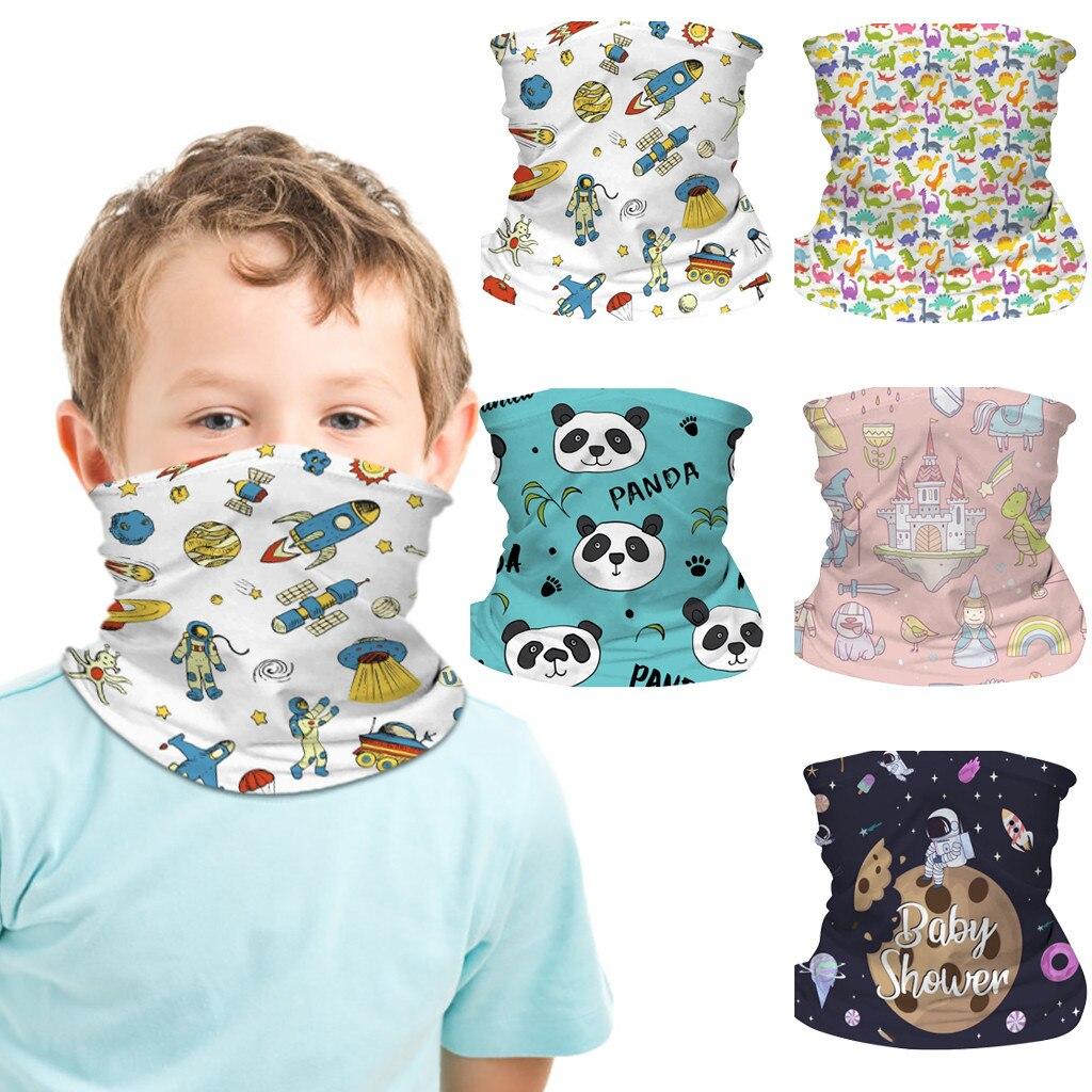 ファッションスカーフ子供のための子供の漫画の顔タオル防風アイスシルクフェイスタオルバンダナスカーフためサイクリングドロップシッピング # l40