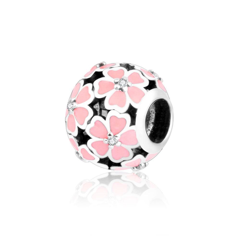 Originální 100% 925 mincovní stříbro korálky růžové smalt růže květ kouzlo se hodí Pandora kouzlo náramek DIY šperky tovární cena
