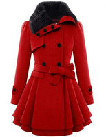 Women's Fashion Faux Fur Lapel Double Breasted Thick Wool Trench Coat