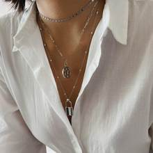 Punk Rock Multi Layered Star Lock Charm Pendant Choker Necklace Statement Chain Collar Necklace Women Jewelry Collier Femme(China)