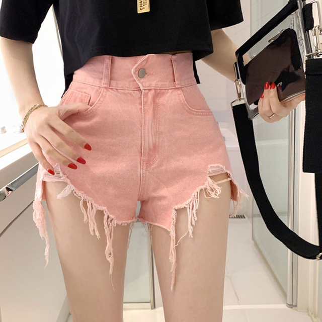 Vintage Ripped Jeans Shorts Women Plus Size High Waist Denim Shorts Female Summer Chic Streetwear Stylish Sexy Hot Shorts Girls 4
