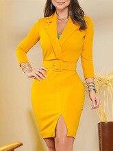 2019 Autumn Women Elegant OL Style Yellow Mini Dress Female Office Work Bodycon Dress Notched Neck Slit Detail Blazer Dress недорого