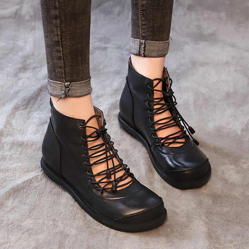 Frauen Gladiator Stiefel Aus Echtem Leder Frühjahr Schuhe Frauen Erhöhte Höhe Ferse Leder Stiefeletten Frauen Handgemachte Schuhe 2019