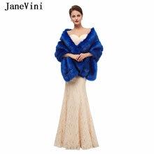 Элегантный Королевский синий женский накидка jaevini из искусственного