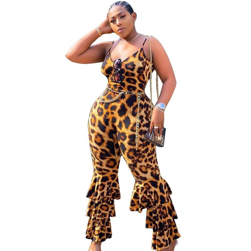 Sexy Leopard Print Women Summer Jumpsuit Backless Rompers Bodycon Camis Bodysuit Female Ruffle Playsuit Women Plus Size Jumpsuit