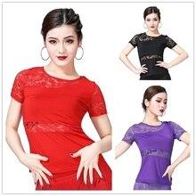Women Latin Dance Blouse T-shirt Top Ballroom Dancewear Lace Salsa Tango Practice 904-B134