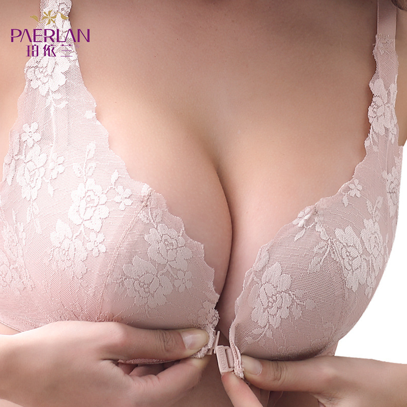 PAERLAN New Bra With Thin Lace Trim Bra No Steel Ring Push Cotton Delicate Floral Decorative Underwear