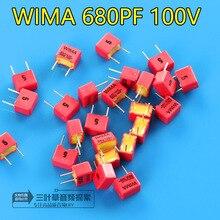 10 Pcs Nuovo Wima FKP2 100V 680PF 100V681 680pF/100V P5MM Audio Condensatore a Film Fkp 2 Serie 0.68nf 100v680pf PCM5 681/100 V