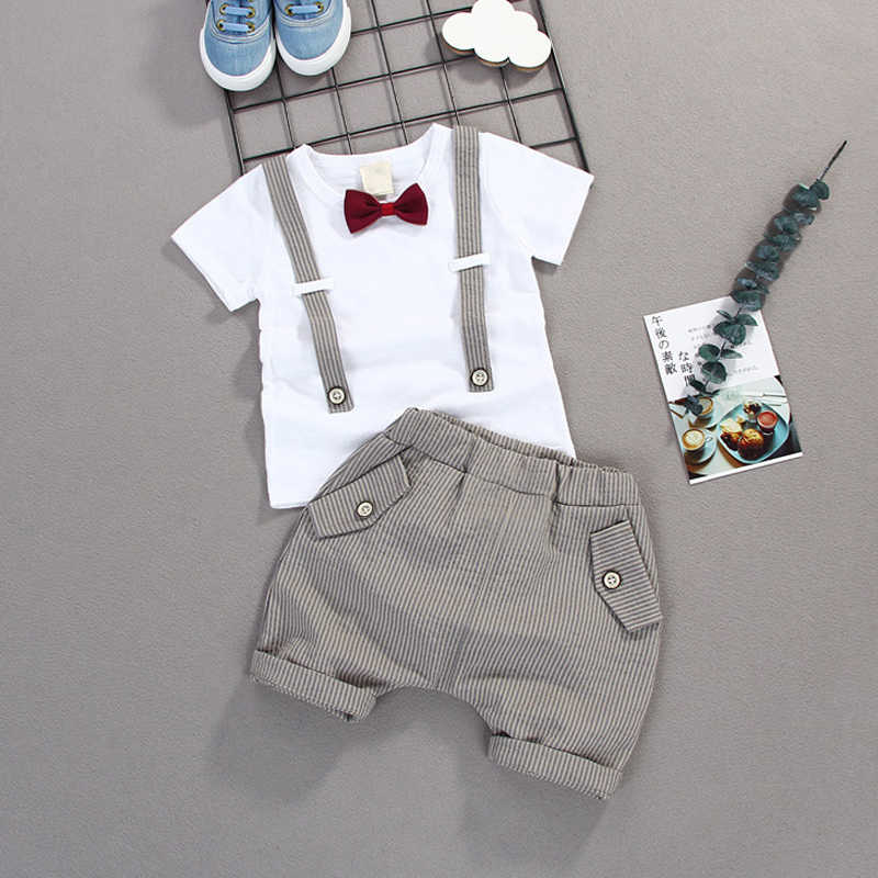 Summer Kids Boys Bow Clothes Sets Baby Gentleman Short T shirt+Striped Pants Toddler Baby Boy Dress Clothing Casual Kids Outfits