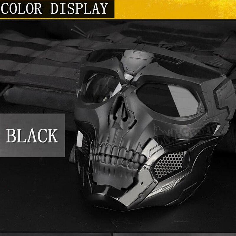 Новая тактическая страйкбольная маска с черепом, Пейнтбольная Военная Боевая полная защитная маска, скелет CS, игра, защитная маска для лица - Цвет: black