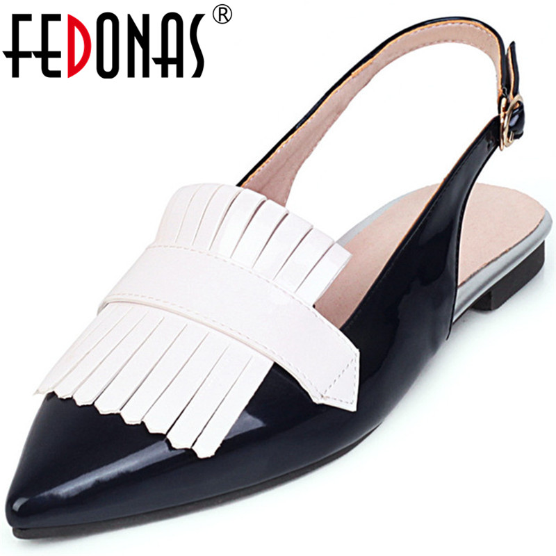 FEDONAS Sweet Point Toe Patent Leather Pumps Thicks Heels Party Shoes Woman Spring Summer Women Slip On New Fashion Shoes Wowan