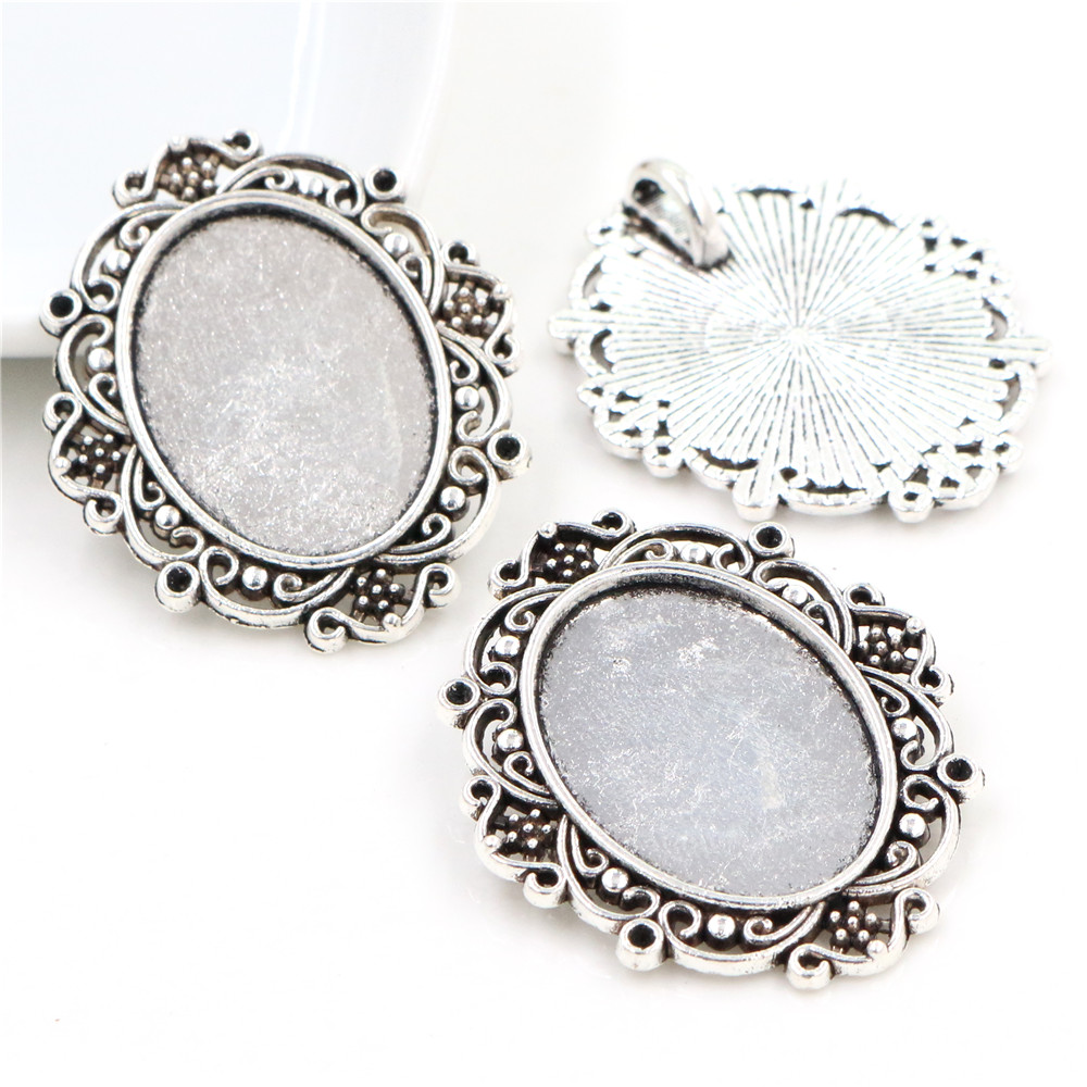 4pcs 18x25mm Inner Size Antique Silver Classic Style  Cameo Cabochon Base Setting Charms Pendant Necklace Findings  (C1-20)