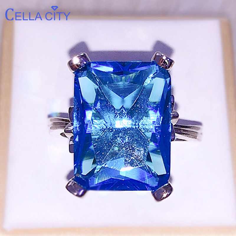 Cellacity Simple Luxury Geometry Sapphire Ring For Women Gorgeous Silver 925 Jewelry With Rectangular Gemstones Leaf Wedding