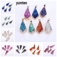 Yumten Rhombus Crystal Charm Natural Stone Pendant Necklace Women Funny Jewelry Rainbow Gem Accessories Making Lucky Gift Couple rhombus triangle faux gem necklace