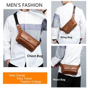 Image 3 - Jeepbuluo homens cintura saco pacote casual funcional dinheiro telefone cinto masculino unisex sling saco para cinto de couro hip saco peito