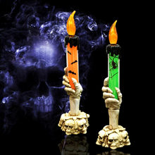 Halloween Skull Skeletal Hand Holder Candle Light Decoration Party Lamps Prop(China)